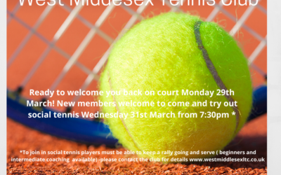 We are excited to be opening our courts again!